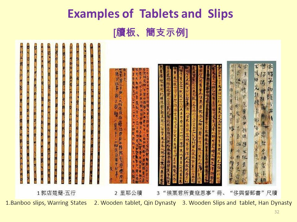 Examples of Tablets and Slips [牘板、簡支示例]